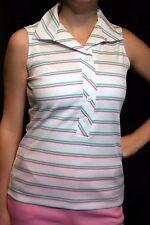 S Vtg 70s Stripe Knit Top Sleeveless Polo Button Shirt White Pink Green Blouse
