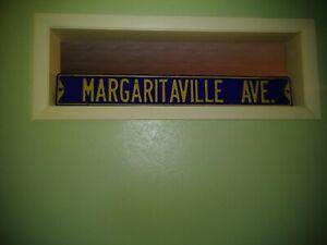 "Vintage Margaritaville Ave. Large Street Sign 42""x6"", Raised Letters."