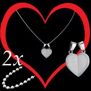 collana per coppia con ciondolo a cuore spezzato acciaio con fidanzati da donna