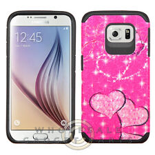 Samsung Galaxy S6 Advanced Armor Case-Glittering Hearts Butterfly Hot Pink/Black