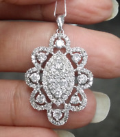 Steal Deal! 1.85 CTW Genuine Round Cluster Diamond Halo Pendant Charm 14K Gold