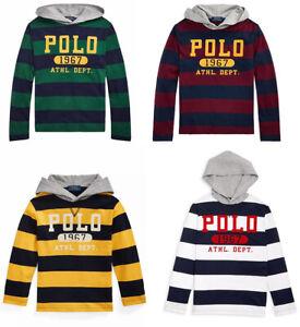 Ralph Lauren Kids Boy Long Sleeve Hooded Rugby Stripes T shirt Jumper Tee Top