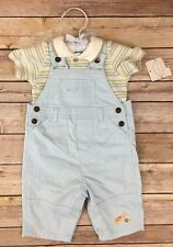 First Moments Baby Boy 2 PC Layette Shirt Overalls 0-3 Months Blue