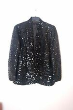 vintage BLACK SEQUIN boyfriend loose fit evening blazer jacket M L