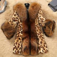 Women's Ladies Leopard Faux Fur Coat Big Fur Collarr Winter Warm Jacket Outwear~