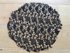 Napperon rond en dentelle ancienne noire Broderie Mercerie  couture