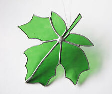 Art Glassware StainedGlass Maple Leaf-Green Coloured Cathedral Glass Suncatcher