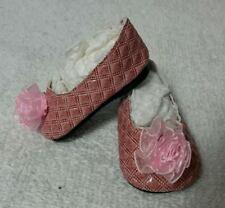 """Fits 16"""" Sasha Gregor Doll - Pink & Maroon Poof Slip-On Shoes - D1748"""