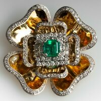 EMERALD & DIAMOND VINTAGE BROOCH PIN IN 18K YELLOW GOLD OVER UNISEX RARE