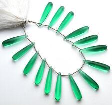 Emerald Gem Hydro Quartz Smooth Elongated Teardrop Beads 8x30mm 15 Piece