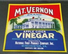 Mt Vernon Apple Cider Vinegar National Fruit Product Winchester Virginia Label