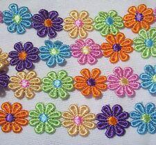 GALON DENTELLE APPLIQUE Fleur Marguerite Multicolore * 25 mm * lot de 18 fleurs