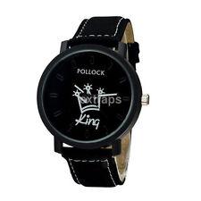 2 Colors Fashion Men Women Couple King Queen Watch Quartz Dial Wrist Watch Round