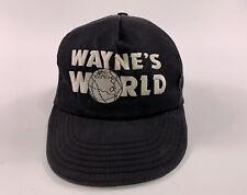 VTG 90s Wayne's World 1991 Broadway Video SNL Black Snapback Cap Hat Movie Promo
