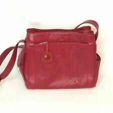 Red Leather Shoulder Bag Hand Tooled Panama Crafted Purse Mid Sized