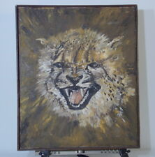 Mid Century Tiger Painting Unsigned On Canvas
