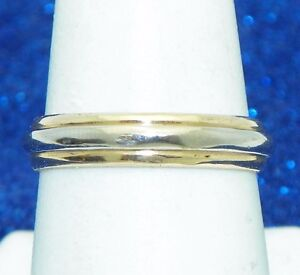 UNISEX WEDDING BAND RING SOLID 14K TWO-TONE GOLD SIZE 8, 3.8g
