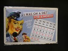 "Nostalgie Blechschild Kalender ""sinnlose Diät"" Vintage Pin Up 20 x 30 cm"