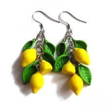 handmade lemon yellow fruits green leaf holiday food vegetarian earrings jewelry