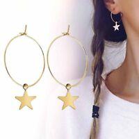 Boho Women Simple Large Circle Star Hoop Earring Ear Drop Fashion Jewelry Party