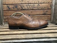 Johnston & Murphy Mens Tyndall Brown Shoes Cap Wingtip Tan Oxford Sz 12 20-0714