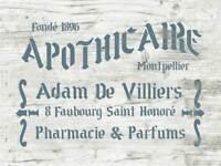 Schablone Apothicaire - französische vintage Schrift - shabby chic Stencil Deko