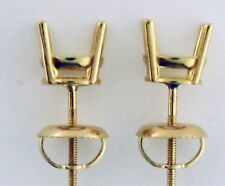 2Carat 4 Prong Stud Earrings Mountings 14K Yellow Gold For 8.2MM Round Stones
