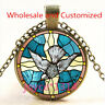 Peace dove Stained Cabochon bronze Glass Chain Pendant Necklace TS-4590