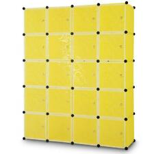 NEW Yellow Plastic Expandable Portable Wardrobe Storage Cube Cabinet Kids Room