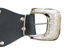 Womens Plus Size 20 - 36 Black Elastic Belt Engraved Silver Buckle *LICK*