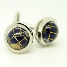 Luxury Blue Circular Globe Cufflinks