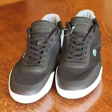 Lacoste Mens 8.5 Black Lace Up Tramline Fashion Casual Retro Trainers Shoes NEW!
