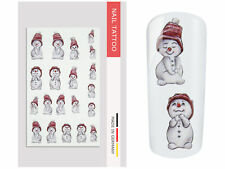 NailArt Nagel Wasser Tattoo Wrap Schneemann Sticker Finger Aufkleber Design Tip