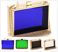 Women Evening Acrylic Perspex Transparent Clear Clutch Box Purse Banquet Handbag