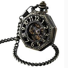 Steampunk Pocket Watch Skeleton Mechanical Windup Retro & Chain Reloj Bolsillo
