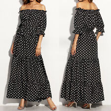 ZANZEA AU8-24 Women Polka Dot Off Shoulder Boat Neck Long Maxi Shirt Sun Dresses