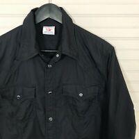 True Religion Pearl Snap Western Shirt Long Sleeve 100% Cotton Men's M Black