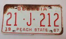 Vintag 1967 Georgia Peach State Automobile License Plate Tag Spalding 21 J 212
