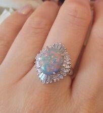 Black Opal and Diamonds in Platinum Ballerina Setting - HM1410
