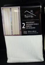 "Bally Dream Home Jacquard Pole Pocket Curtain Drape Panels 28x 84"" ivory S/2 #25"