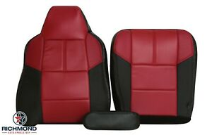 2007 Ford F250 F350 OUTLAW -Driver Side Complete Leather Seat Covers Black & Red