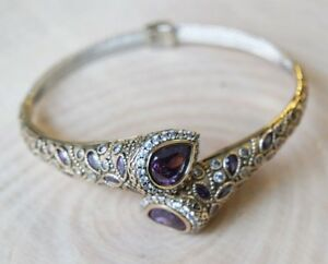 925 Sterling Silver Handmade Authetic Turkish Amethyst Ladies Bracelet Cuff
