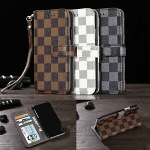 Luxury Deluxe Grid Wallet Flip Leather Stand Card Case Cover For Apple iPhone