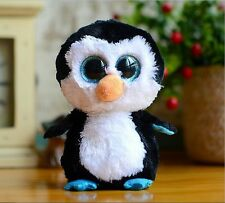 "6"" Cute Black/white penguin TY Beanie Boos Plush Stuffed Toys Glitter Eyes"