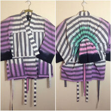 BERNHARD WILLHELM Purple/Gray/White Dip Dyed Striped Kimono Jacket Padded S