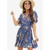 NWT Angie Smocked Blue V-Neck Floral Flutter Sleeve Boho Summer Fall Dress S/M/L