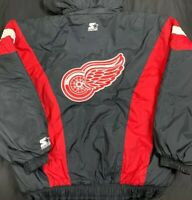 VTG Starter Detroit Red Wings NHL Parka Puffy Jacket Men's SZ XL Double Logo's