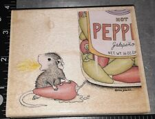 New listing House mouse,all fired up,jalapeno pepper,stampabilities,B74 ,rubber,wood