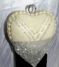 Damen Herz Abendtasche Clutch Tasche Brauttasche Hochzeit Strass Party Perlen
