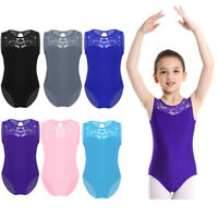 Kids Girls Lace Ballet Leotards Bodysuit Sequins Jumpsuits Gym Dancewear Costume